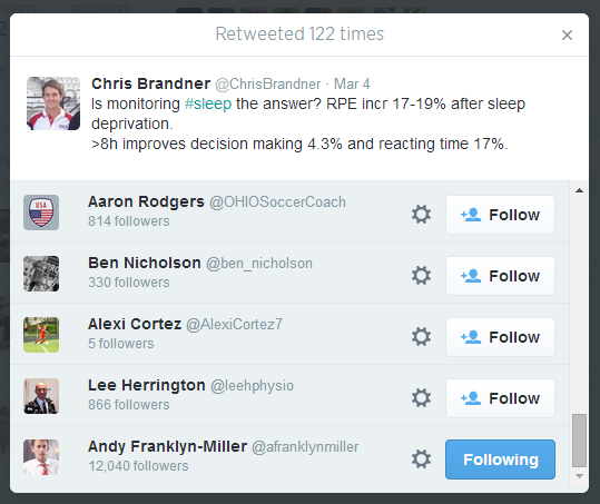 """Chris Brandner live-tweeted from a workshop delivered by Andy Franklyn-Miller, who subsequently re-tweeted Chris Brandner in turn.  This """"signal boost"""" from Andy has helped maximise the reach of the tweet to the tune of 122 retweets at the time of writing this blog post!"""