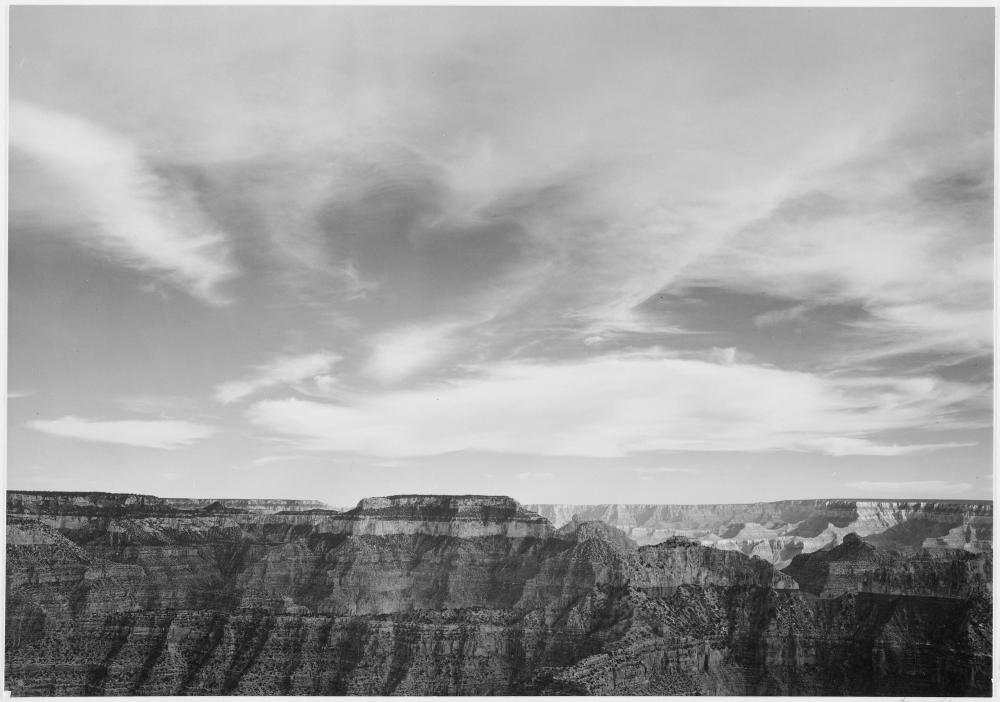 "Ansel Adams: Canyon edge, low horizon, clouded sky, ""Grand Canyon National Park,"" Arizona., 1933 - 1942"
